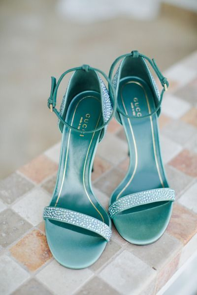 Teal Gucci heels: great for bride something blue and wedding shoes