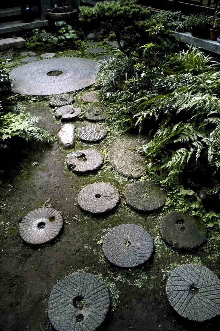 Japanese Garden stones.  Pretty and could reasonably DIY with concrete