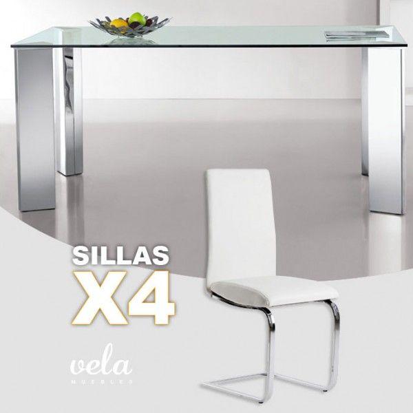 Conjunto Mesa cristal y sillas polipiel forma de C | Pinterest ...