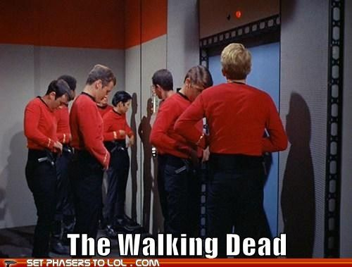 Hey you in the red shirt! Take this phaser and go stand by that highly explosive thing over there....