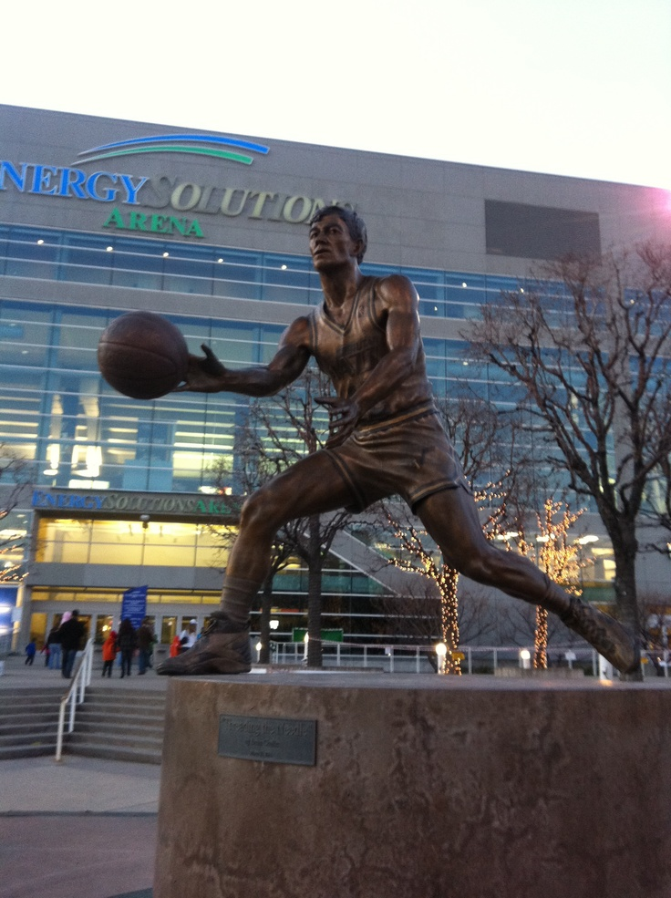"Statue of John Stockton in front of Energy Solutions Arena. Will always be the Delta Center to me. A statue of Karl Malone ""The Mailman"" is there also."