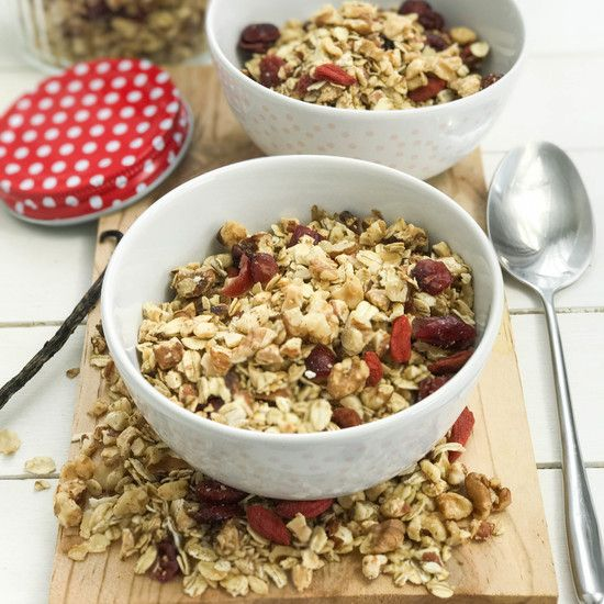 Vegan Granola with Almonds, Walnuts, Cranberries and Goji Berries