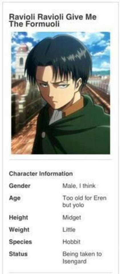 Awwwww....I should feel bad for pinning this, but...sorry Levi, this is really funny! XD