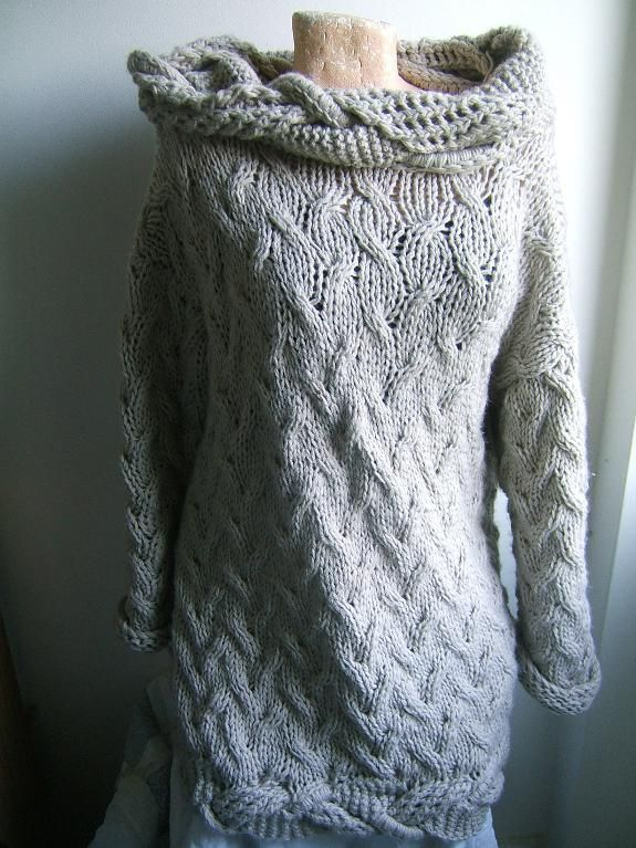 (6) Name: 'Knitting : Travelling Cable Dress with Trim