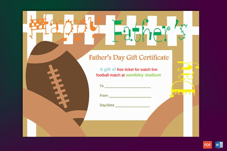 Fathers day gift certificate template football theme