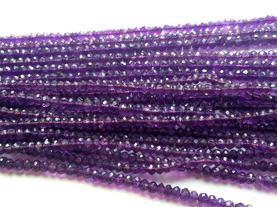 Amethyst Faceted Rondelle Beads Natural Amethyst by gemsforjewels