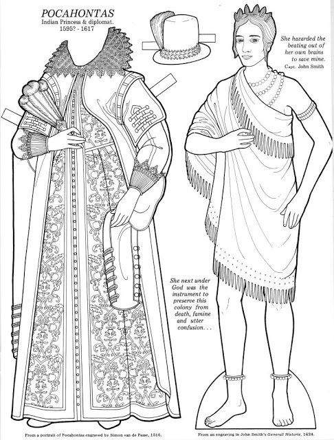 National Women's History Month coloring pages: Pocahontas | Great Women Paper Dolls collection by Maria Varga