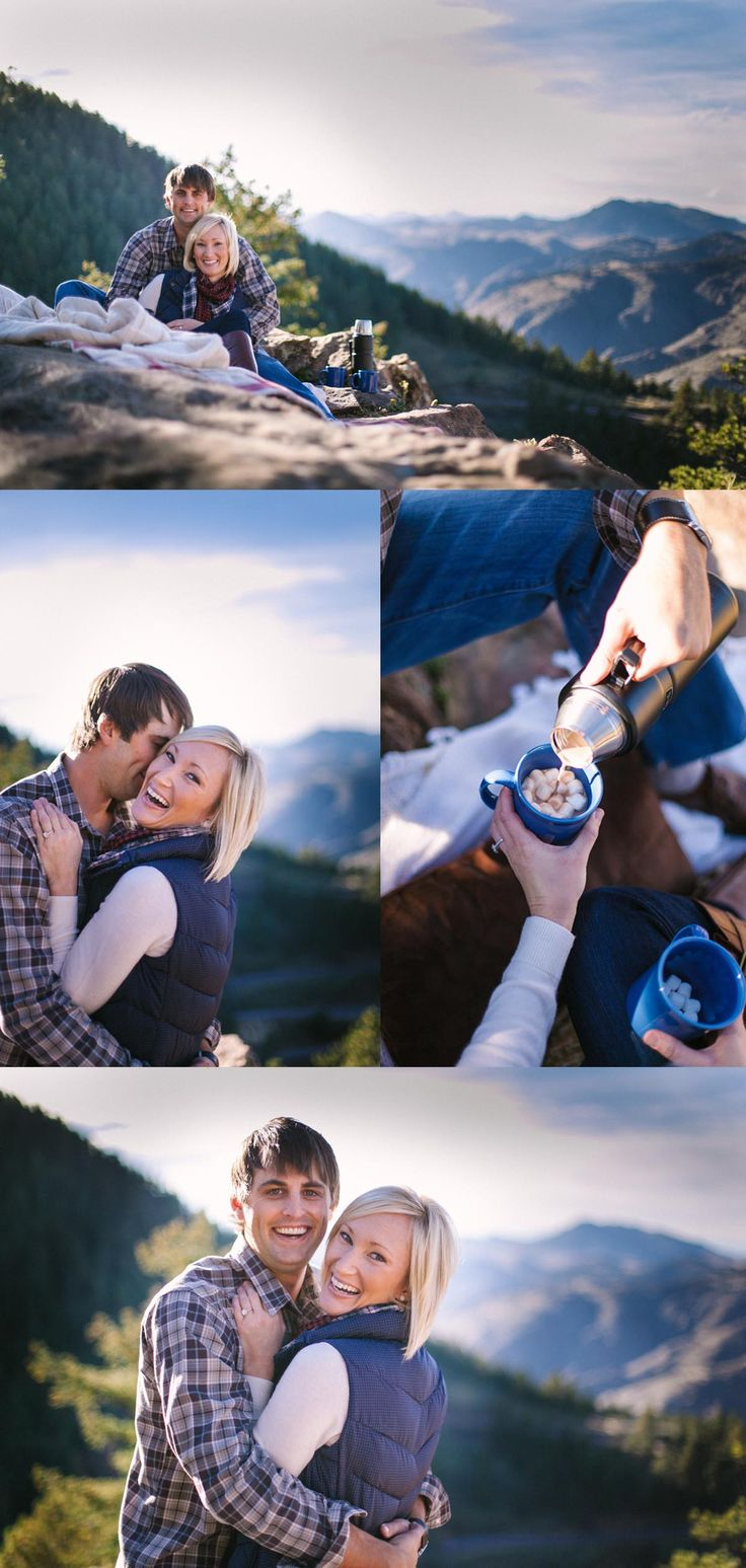 Love this mountain, hot cocoa engagement session on Lookout Mountain in Colorado. We need to book this photographer, Sara Lynn.