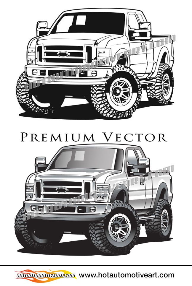 2010 Ford F 250 Off Road Truck Vector Clip Art With Images
