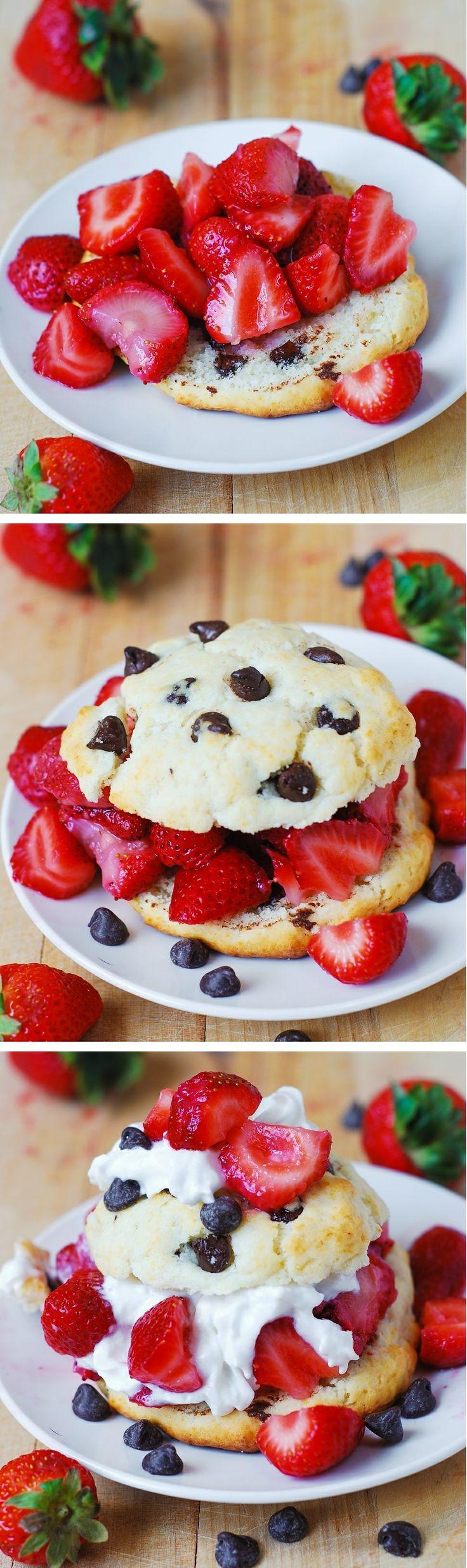 Chocolate chip strawberry shortcakes