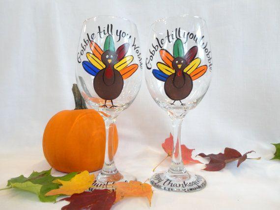Thanksgiving Glasses Turley Wine Glasses by SAM Designs @ www.samdesigns.net