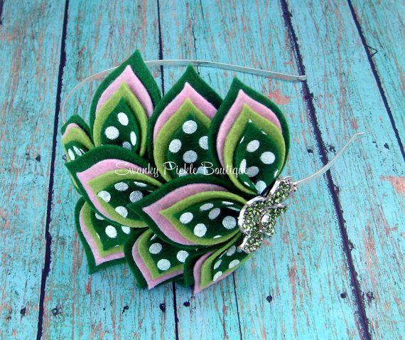 St Patrick's Day Wool Felt Flower Headband by SwankyPickleBoutique, $18.50