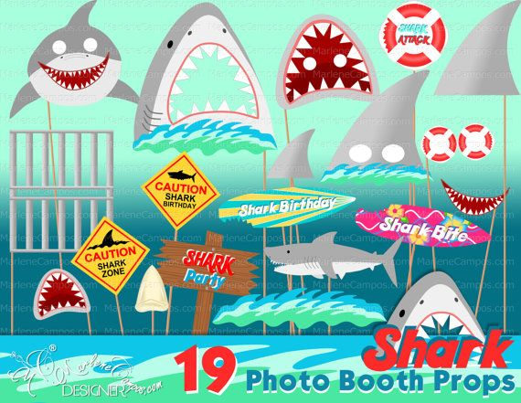 Shark photo booth props, Shark birthday party, Shark party decor, Photo Booth…