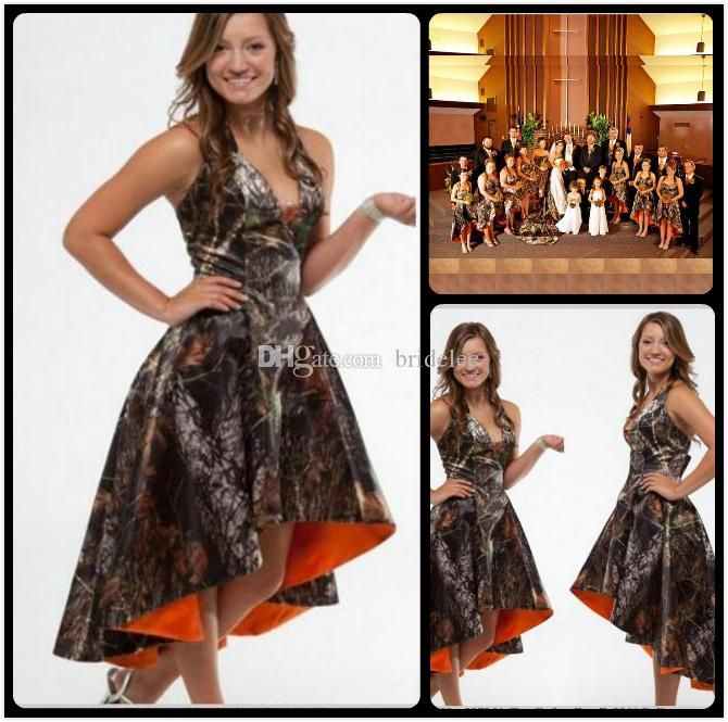 Orange Camo Bridesmaid Dresses 2016 Halter Hi Lo Camo Wedding Short Front Long Back Camouflage Dresses Custom Bridesmaid Dress u on Aliexpress.com | Alibaba Group