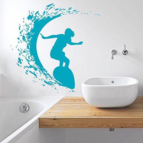 wall decal vinyl sticker decals art home decor design mural surfer surfboard waves sea beach extreme sports gift kids dorm bedroom art
