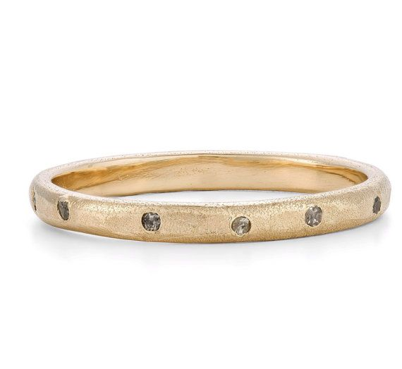 Salt & Pepper Diamond 9ct Yellow Gold Eternity / Wedding Ring - UniqueTextured Wedding Band, Made To Order By Hand