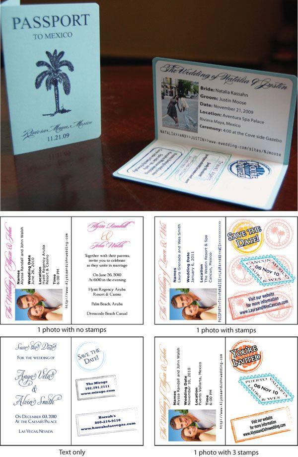 Passport Invitations for a honeymoon travel themed