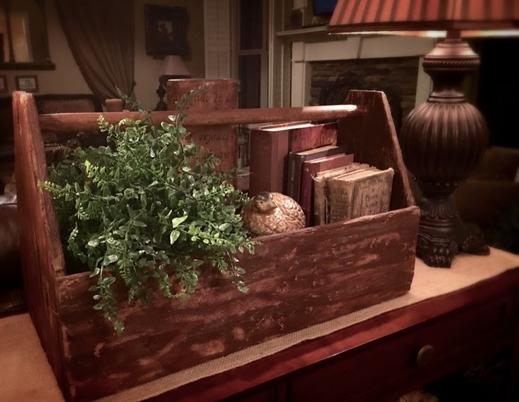 Vintage wooden Tool box caddy ~ Upcycle Decor~ Rustic Elegance