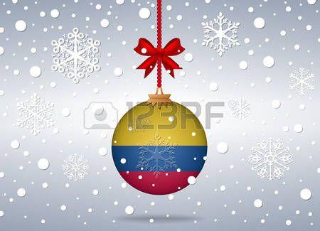 Fondo de Navidad. Bola con la bandera de Colombia.