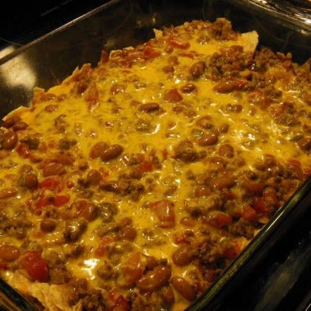 Easy Mexican Casserole Recipe  I season my ground beef a little more than calls for and add 1 1/2 packages of taco seasoning.