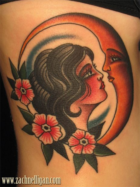Traditional girl and moon tattoos for Traditional moon tattoo