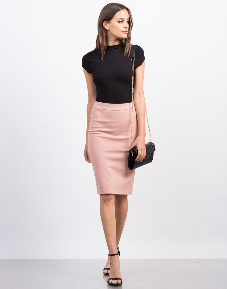 Front View of Side Zipper Pencil Skirt