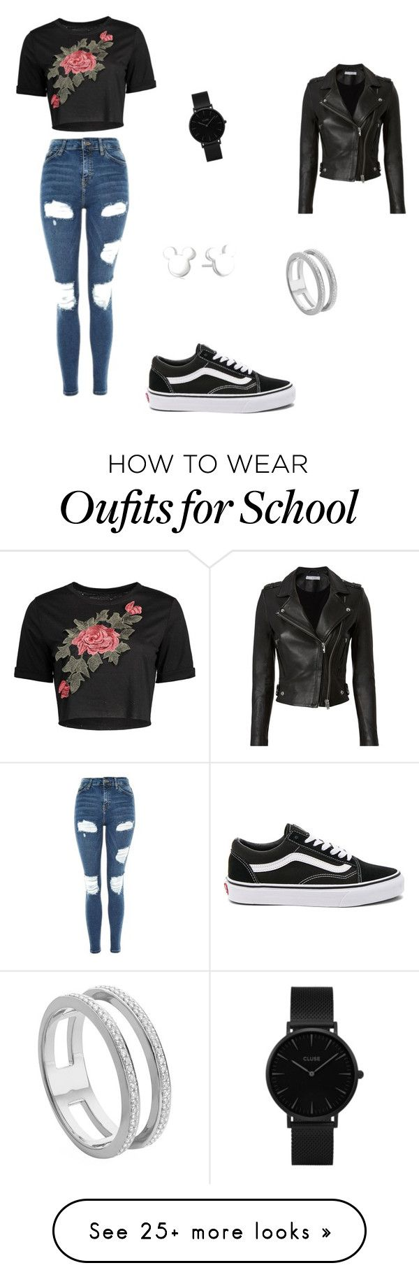 """School outfit!"" by melanie-santbergen on Polyvore featuring Topshop, IRO, Vans, CLUSE, Disney and Monica Vinader"