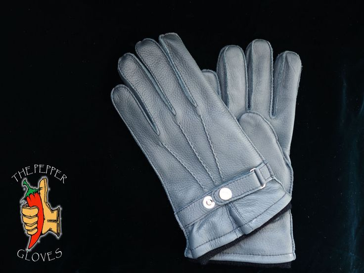 Deerskin gray leather winter men gloves with cashmere lining size 9 - JULIEN #ThePepperGloves #WinterGloves