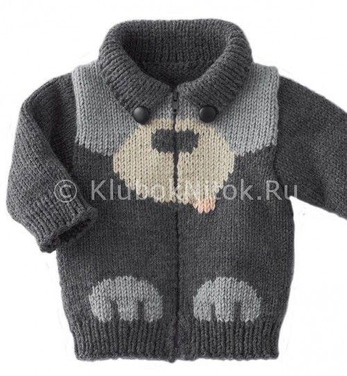 Кофта «Собачка» | Вязание для детей | Вязание спицами и крючком. Схемы вязания.