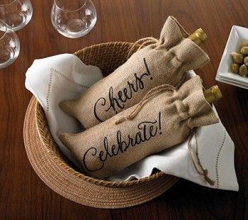 Holiday Burlap Wine Bag