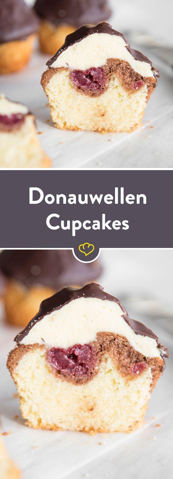 Donauwellen Cupcakes – Klassiker mit Schokohut