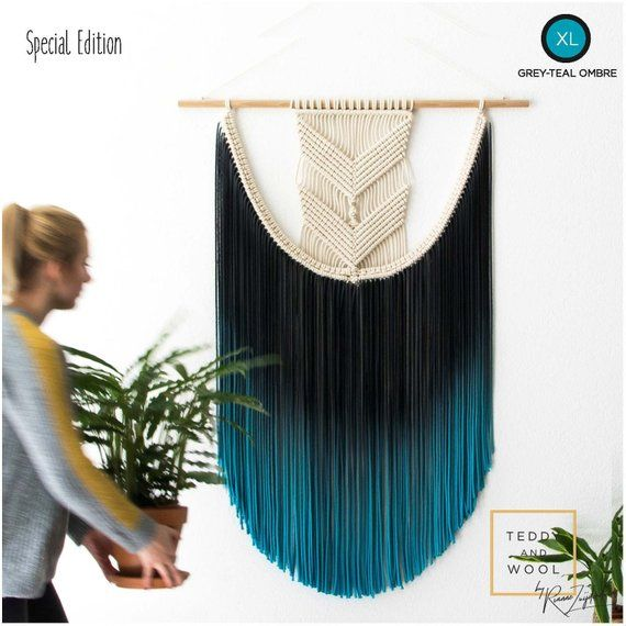Macrame Fiber Art – Sizes Small/Medium/Large/XL etc – Colors Blue/Green/Turquoise/Pink/Yellow and mo