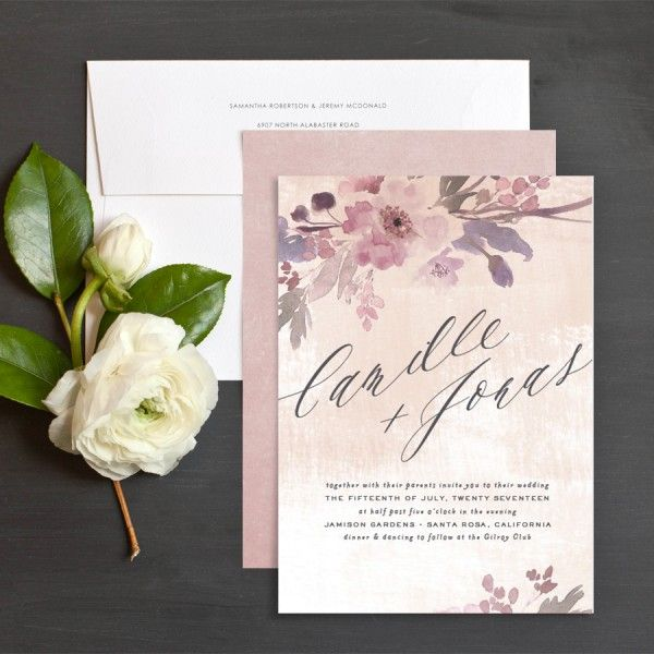 Painted Petals Wedding Invitations by Jennie | Elli