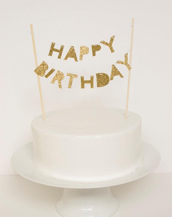 Happy Birthday Cake Topper Gold Glitter by stephlovesben on Etsy, $20.00