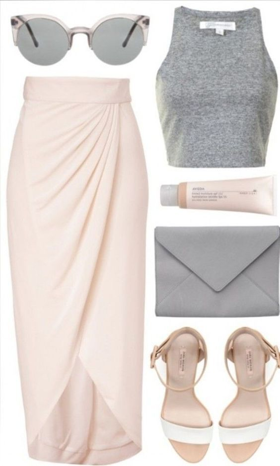 Long blush skirt and sandals with light grey top, sunglasses and purse... make for a subtle and alluring outfit!