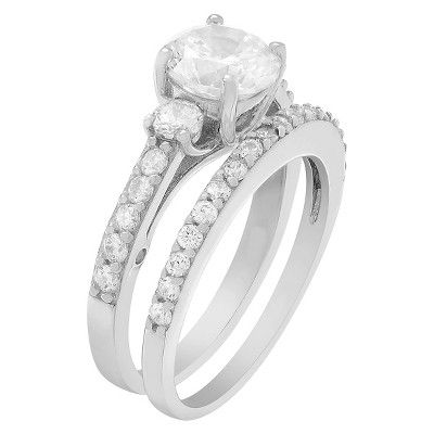 1 2/5 CT. T.W. Round-cut Cubic Zirconia Engagement Prong Set Ring Set in Sterling Silver - Silver, 7, Women's