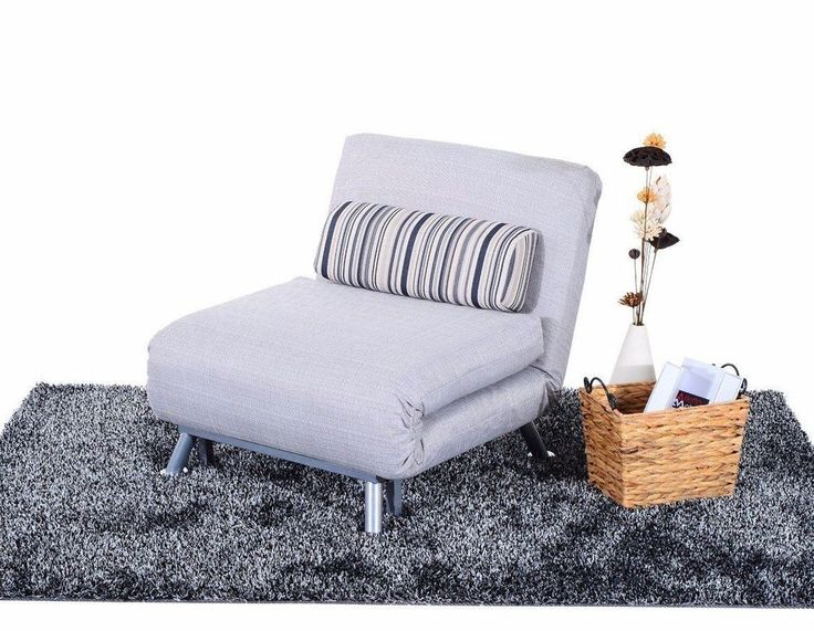 Foldable Guest Bed Lounge Chair Sofa Modern Seat Futon Living Room Recliner Grey