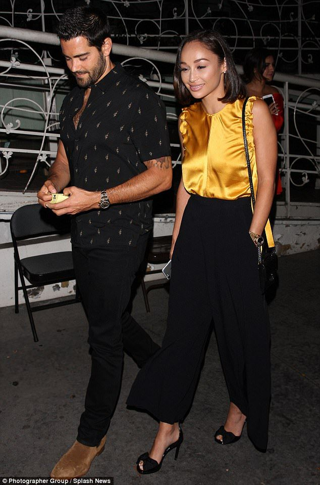 Making a meal of it: Cara Santana went for a meal with fiance Jesse Metcalfe in LA on Mond...