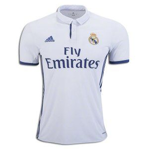 Real Madrid Home Jersey 16/17 Real Madrid added another chapter to the club's incredible history with an 11th Champions League trophy in 2016. adidas honors years of success with the home jersey, white combined with Real Madrid's traditional secondary color purple for the first time since 2007/08. Inspired by the first jersey worn in 1902, the jersey has purple adidas stripes on the sides, sleeves, and on the buttons panel.