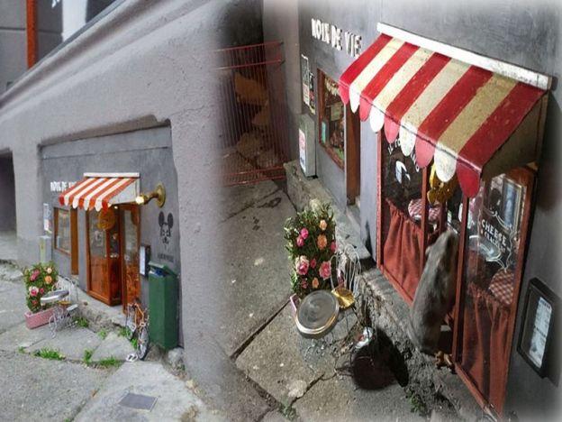 """Gerai untuk tikus di Sweden   Gerai untuk tikus di Sweden  MALMO - SWEDEN. Jika anda jalan melalui bandar Malmo pastikan anda memandang ke bawah untuk melihat beberapa kedai yang dibuat untuk tikus. Di bahagian bawah bangunan di kejiraan Möllevången beberapa gerai kecil yang 'menjual' roti keju dan keropok yang saiznya hanya untuk tikus. Gerai berkenaan dibuat oleh sekumpulan artis seni yang menggelarkan mereka sebagai Anonymouse MMX """"Ia terlalu menarik untuk membayangkan dunia di mana…"""