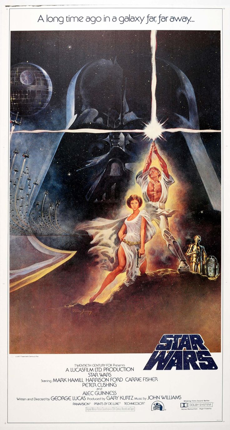 Star Wars Three Sheet Tom Jung 1977 - large original vintage 3 sheet movie poster for the first release of the iconic sci-fi Star Wars saga by George Lucas with music by John Williams and starring Mark Hamill as Luke Skywalker, Harrison Ford as Han Solo, Carrie Fisher as Princess Leia, Alec Guinness as Obi Wan-Kenobi, Anthony Daniels and Kenny Baker as C3-PO and R2-D2, Peter Mayhew as Chewbacca and David Prowse as Darth Vader listed on AntikBar.co.uk