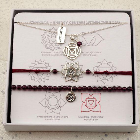 Yoga Silver Root Chakra necklaces garnet gemstone January