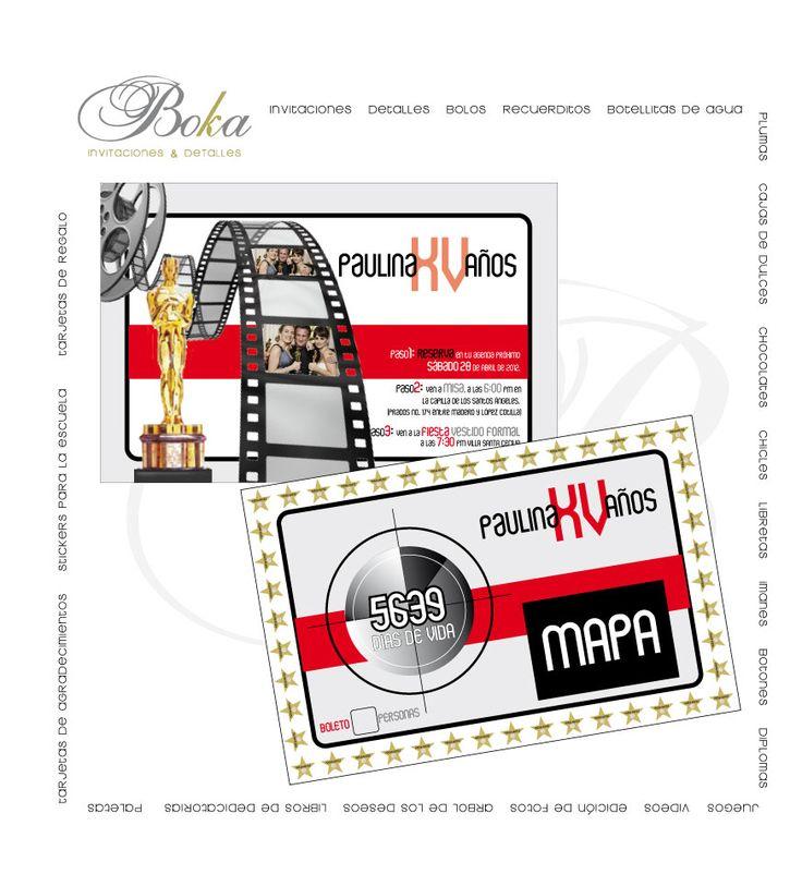 invitaciones xv años, invitaciones hollywood, diseños unicos, diseños originales tematicas www.bo-kasociales.com