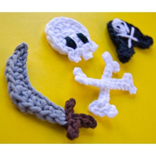 Pirate Skull, Sword and Hat Applique Crochet