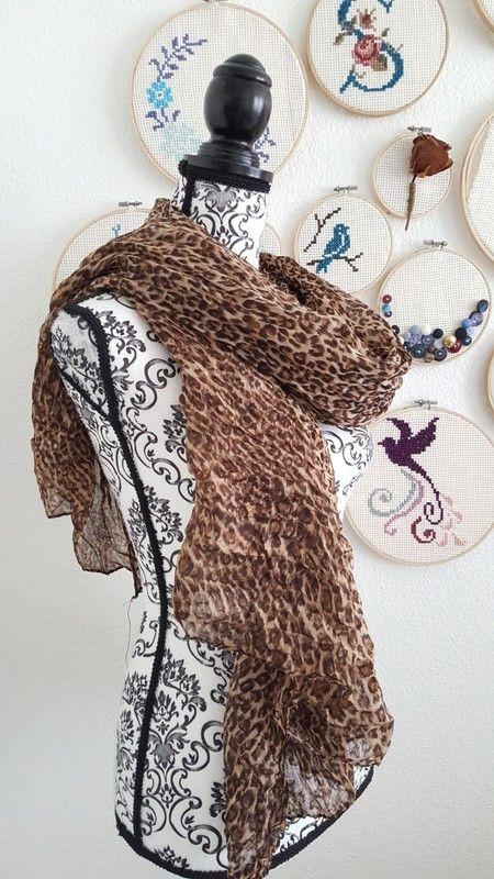 Schal Tuch Kopftuch Halstuch xl in braun beige leo leoparden desing Muster