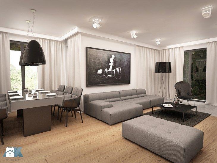 Urządzone na szaro - Średni salon z jadalnią, styl nowoczesny - zdjęcie od MKdesigner