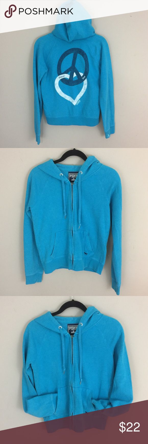 """VS Pink Zip Up Hoodie Peace Love Pink Blue Hoodie VS Pink Hoodie.  Blue zip up hoodie with """"Peace, Love Pink"""" on the back with a peace sign and a heart interlocking.  50% cotton, 50% polyester. PINK Tops Sweatshirts & Hoodies"""
