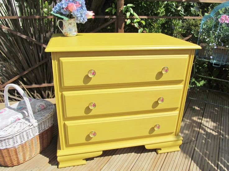 Was £255 now only £195!!! Sunshine yellow chest of drawers with gorgeous handles