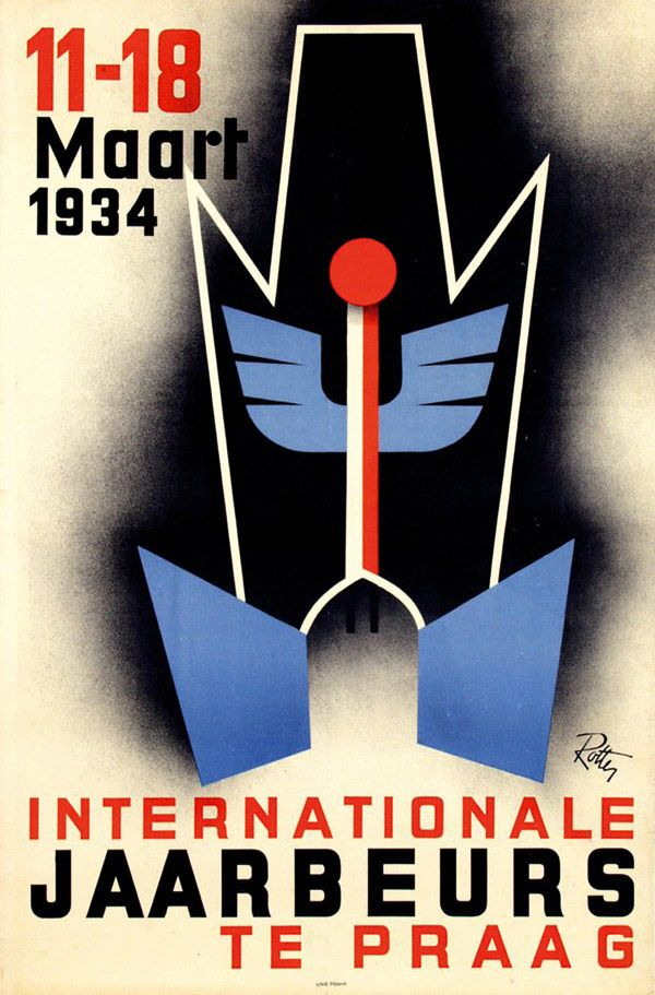 In mid-1937 Cahén began working for Vilém Rotter, one of the most progressive graphic designers in Europe. Rotter's poster for the 1934 International Fair in Prague.
