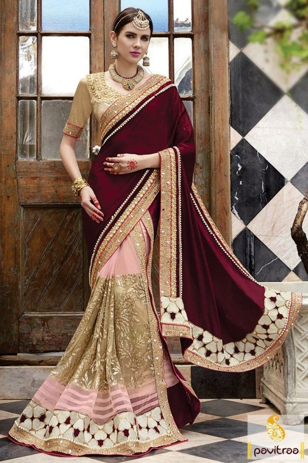 Maroon Color Brocade Designer Bridal Wedding Saree #saree, #designersaree more: http://www.pavitraa.in/catalogs/indian-dulhan-wedding-sarees-online/?utm_source=rn&utm_medium=pinterestpost&utm_campaign=18jun